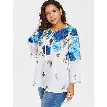 Plus Size Bell Sleeve Rose Pattern Blouse - BLUE 2X