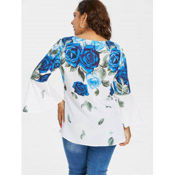 Plus Size Bell Sleeve Rose Pattern Blouse - BLUE 3X