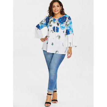 Plus Size Bell Sleeve Rose Pattern Blouse - BLUE 5X