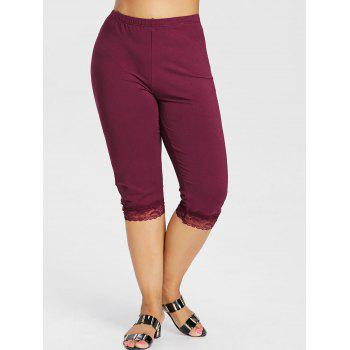 Plus Size High Waisted Lace Hem Leggings - RED WINE L