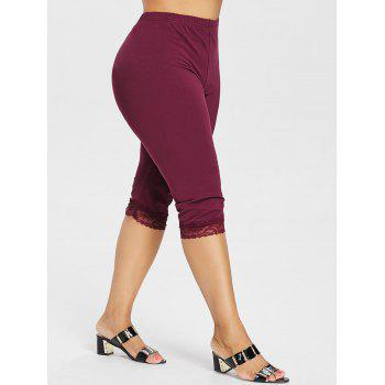 Plus Size High Waisted Lace Hem Leggings - RED WINE 4X