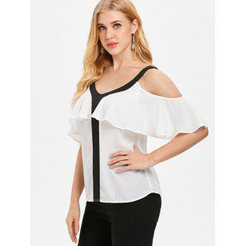Color Trim Flounce Blouse - WHITE 2XL