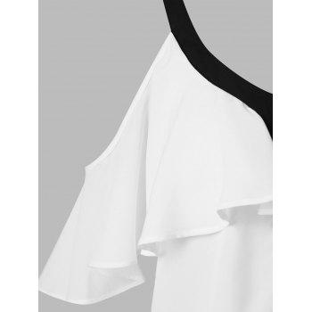 Color Trim Flounce Blouse - WHITE XL
