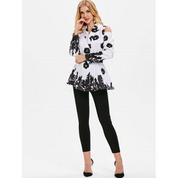 Shawl Collar Printed Cold Shoulder Coat - WHITE XL
