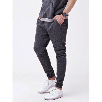 Knee Seam Cuff Elastic Jogger Pants - DARK GRAY XL