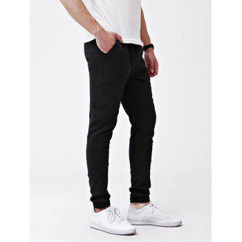 Knee Seam Cuff Elastic Jogger Pants - BLACK XL