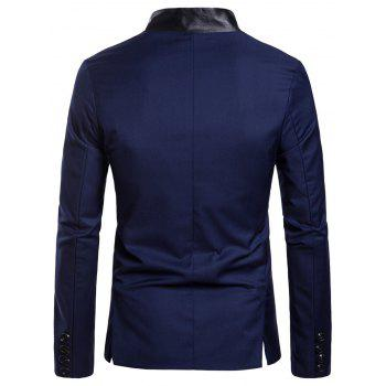 Casual Stand Collar Asymmetric Sideling Buttons Suit Blazers - DENIM DARK BLUE 2XL