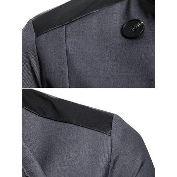 Casual Stand Collar Asymmetric Sideling Buttons Suit Blazers - ASH GRAY XL