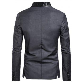Casual Stand Collar Asymmetric Sideling Buttons Suit Blazers - ASH GRAY 2XL