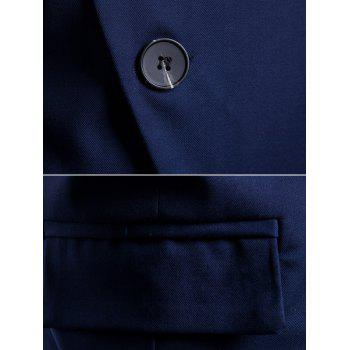 Casual Stand Collar Asymmetric Sideling Buttons Suit Blazers - DENIM DARK BLUE L