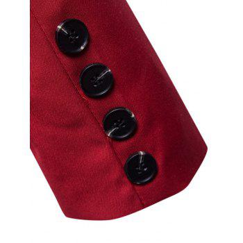 Casual Stand Collar Asymmetric Sideling Buttons Suit Blazers - LOVE RED 2XL