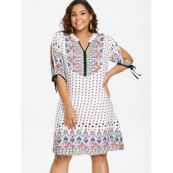 Plus Size Baroque V Neck Dress - WHITE L