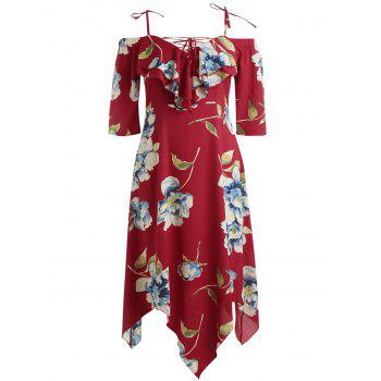 Plus Size Lace Up Maxi Flowing Dress - RED 2X