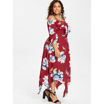Plus Size Lace Up Maxi Flowing Dress - RED 4X