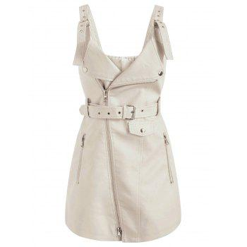 Pinafore Dress with Adjustable Straps - WHITE XL