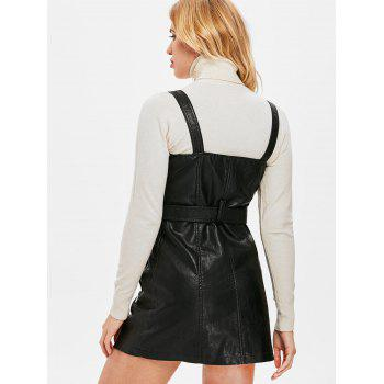 Pinafore Dress with Adjustable Straps - BLACK L