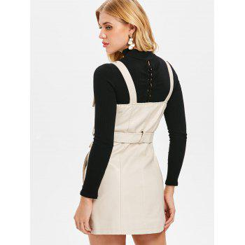 Pinafore Dress with Adjustable Straps - WHITE L