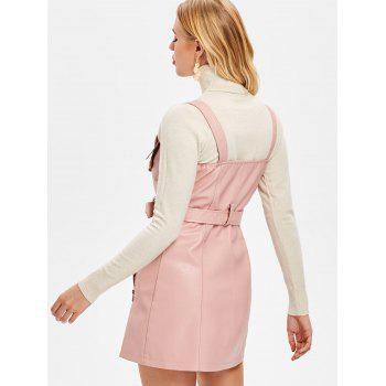 Pinafore Dress with Adjustable Straps - PINK L