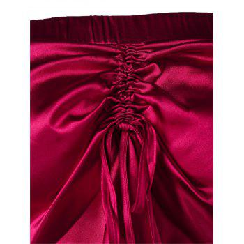 Bare Shoulder Flare Sleeve Metallic Skirted Blouse - RED WINE XL