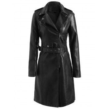 Zip Up PU Coat with Belt - BLACK XL