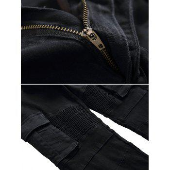 Multi-pocket Zip Fly Biker Jeans - BLACK 40