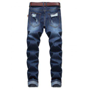 Straight Leg Destroyed Wash Zip Fly Jeans - BLUE 34