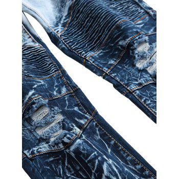 Zip Embellished Ombre Biker Jeans - BLUEBERRY BLUE 32