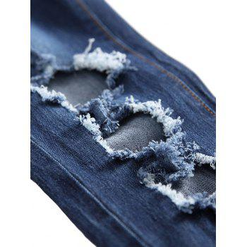 Straight Leg Destroyed Wash Zip Fly Jeans - BLUE 38