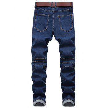 Zip Fly Straight Leg Biker Jeans - BLUE 36