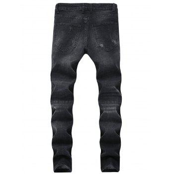 Faded Wash Ripped Zip Hem Jeans - BLACK 38