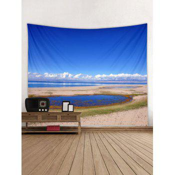 Sky Cloud Print Tapestry Art Decoration - BLUEBERRY BLUE W79 INCH * L71 INCH