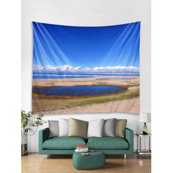 Sky Cloud Print Tapestry Art Decoration - BLUEBERRY BLUE W91 INCH * L71 INCH