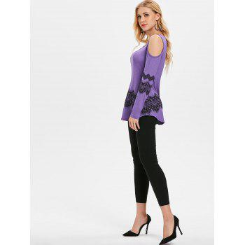 Shoulder Cut Lace Printed Long Sleeve T-shirt - PURPLE MIMOSA M