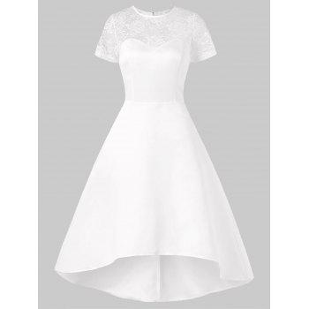 Lace Panel Asymmetrical Wedding Dress - WHITE XL
