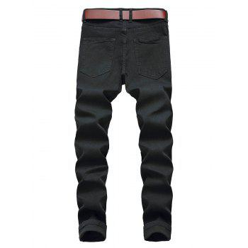Straight Leg Zip Fly Ripped Jeans - BLACK 32