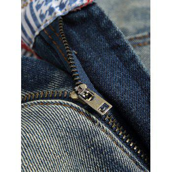 Zip Fly Faded Wash Ripped Jeans - DARK GRAY 40