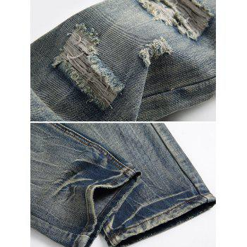Zip Fly Faded Wash Ripped Jeans - DARK GRAY 38