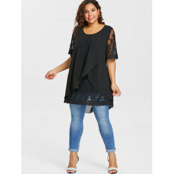 Plus Size Lace Panel Overlap Blouse - BLACK 3X