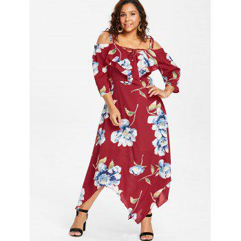 Plus Size Lace Up Maxi Flowing Dress - RED 5X