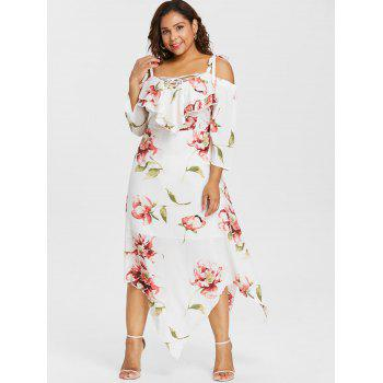 Plus Size Lace Up Maxi Flowing Dress - WHITE 2X