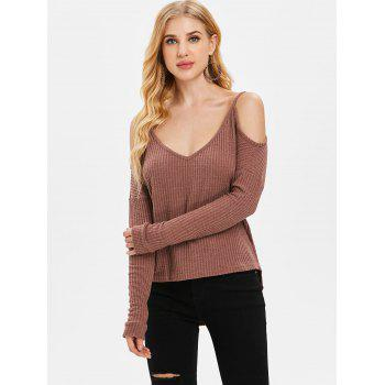 Long Sleeve Cold Shoulder Sweater - PUCE L