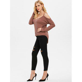 Long Sleeve Cold Shoulder Sweater - PUCE M