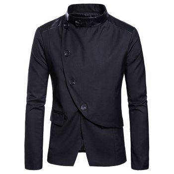 Casual Stand Collar Asymmetric Sideling Buttons Suit Blazers - BLACK M