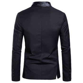 Casual Stand Collar Asymmetric Sideling Buttons Suit Blazers - BLACK L