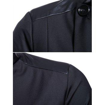Casual Stand Collar Asymmetric Sideling Buttons Suit Blazers - BLACK XL