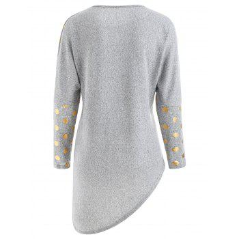 Round Neck Printed Asymmetrical Top - LIGHT GRAY M