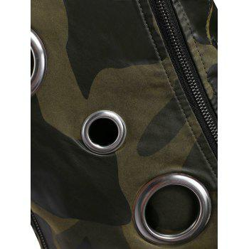 Camo Hollow Out Ring Motorcycle Jacket - CAMOUFLAGE GREEN M