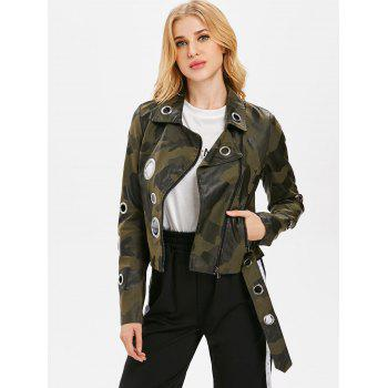 Camo Hollow Out Ring Motorcycle Jacket - CAMOUFLAGE GREEN XL