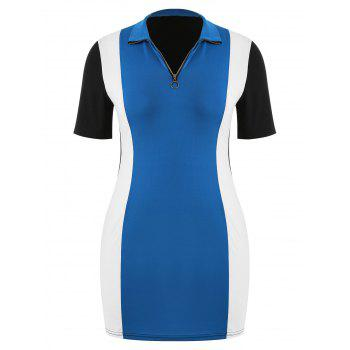 Short Sleeve Plus Size Color Block Dress - BLUE L