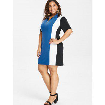 Short Sleeve Plus Size Color Block Dress - BLUE 5X